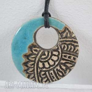 wisiorki turkusowy etno wisiorek, ceramiczny etniczny wisior