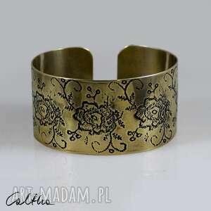 kwiaty - mosiężna bransoletka 171028-04, bransoletka, bransoleta
