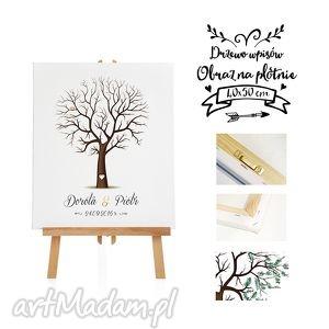 hand-made księgi gości piękny obraz na płótnie - drzewo wpisów - 40x50 cm