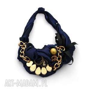 navy gold naszyjnik handmade, naszyjnik, kolia, granat, złoty naszyjniki