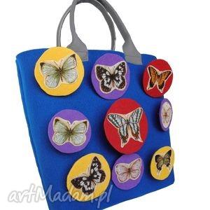 rewelacyjna unikatowa torebka motyle, torebka, filc, motyl, filcowa