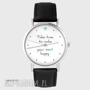 zegarek - make your soul happy skórzany, czarny, zegarek, pasek