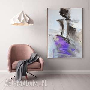 lawendowa 100x70, duży obraz do salonu, kobieta obraz, sypialni