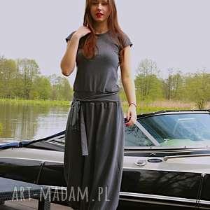 Melanżowy kombinezon, sukienka, dresowa, szary, letni, wygodny