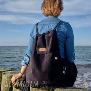 hand-made plecak worek czarna czwóreczka