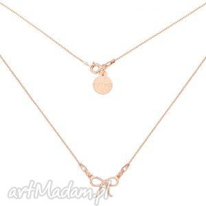 naszyjnik z kokardką z różowego złota, złoto, delikatny