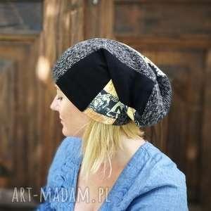 czapka unisex damska męska smerfetka długa zima ciepła, czapka, etno, boho, ciepła
