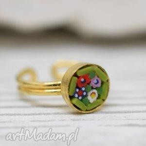 mikromozaika pierścionek vintage, mozaika, pierścionek, mikro, pozłacany