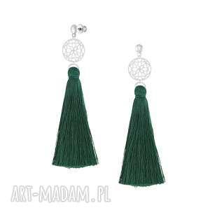 długie kolczyki z chwostem - boho lavoga - zielone kolczyki, sztyfty