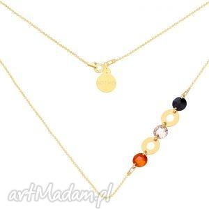 handmade naszyjniki złoty naszyjnik z karmami i kryształami swarovski® crystal