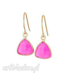 kolczyki z różowym agatem brazylijskim , agat, kolczyki, złote, nowość, kamień