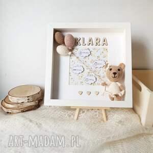 metryczka narodzin dziecka - miś dziewczynka, metryczka, narodziny