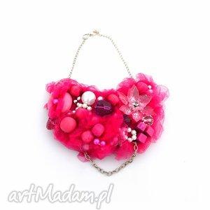 prezent na święta, fuksja naszyjnik handmade, naszyjnik, różowy, róż, fuksja