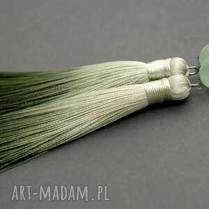 kolczyki z chwostami, sznurek, eleganckie, wiszące, cieniowane, długie, chwost