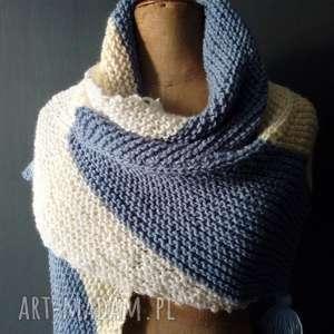 ciepła chusta - szal, chusta, jesienna chusta, na drutach, na prezent, kobieca