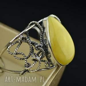 ręcznie robione masywna bransoletka z mlecznym bursztynem srebro