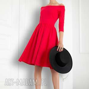 unikalne, czerwona sukienka hiszpanka, sukienka, czerwona, rozkloszowana, elagancka