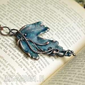niebieski liść - naszyjnik z prawdziwym liściem, wisior