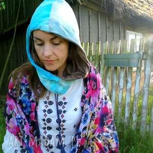 kaptur bawełniany na podszewce farbowany, kaptur, rower, czapka, wiosna, etno, boho