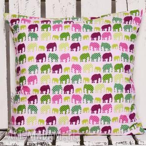 poduszka słonie 40x40cm - róż od majunto, dziecięca, poduszki dziecięce