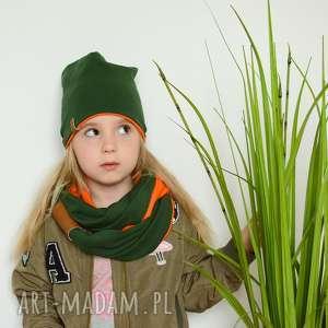 komplet komin czapka zielono-pomarańczowy, komplet, wiosna, bawełna, czapka,