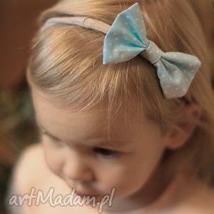 hand-made ozdoby do włosów opaska lady z kokardką - blue dots