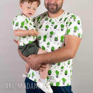 komplet koszulek dla taty i dziecka kaktusy rozmiar s 80/86, komplettatasyn