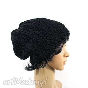 czapka czarna, czapka, dziergana, unisex, głowa, zima, uszy czapki
