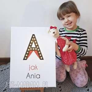 Prezent ŚWIECĄCA litera A obraz LED personalizowany prezent dla dziecka lampka imię