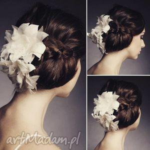 ozdoby do włosów jedwabne kwiaty, jedwab, ecru