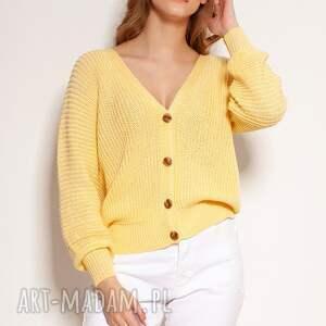 bawełniany sweter na guziki - swe142 żółty, guziki, wiosnę