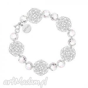 srebrna bransoletka z rozetek i bezbarwnych kryształów swarovski crystal, modna