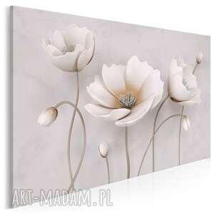 obraz na płótnie - kwiaty ecru biały delikatny 120x80 cm 98901