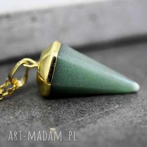 Pozłacany naszyjnik AWENTURYN , awenturyn, kamień, złoty, zielony, zawieszka, stożek