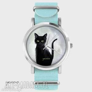 zegarek, bransoletka - czarny kot, szary niebieski, nato