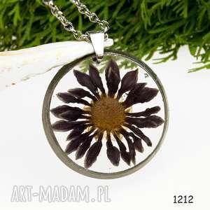 z1212 naszyjnik z suszonymi kwiatami herbarium, terrarium, biżuteria
