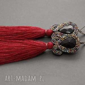 kolczyki sutasz z bordowym chwostem, sznurek, tęczowe, długie, bordowe