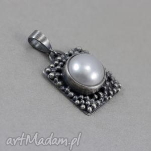 perła w srebrze - wisiorek, perła, naturalna, srebro, wisior, oksydowane