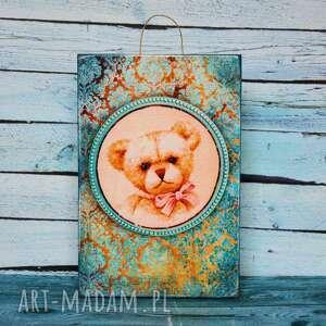 obrazek - miś medalion, obrazek, miś, dziecko, dekoracja, urodziny, pokój