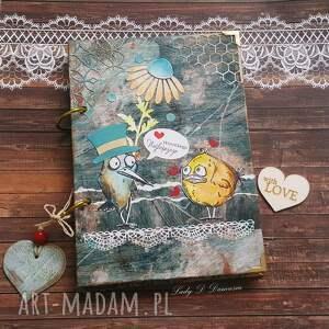 scrapbooking notesy stylowy sekretnik zakręcone ptaki, notes, kwiaty, ptaszki