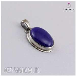 lapis lazuli w oksydowanym srebrze - delikatny wisiorek 2920, lazuli