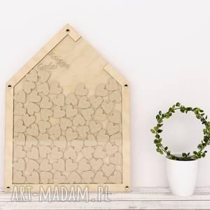 księga gości - drewniany domek, gości, serduszka, ślub, rustykalna