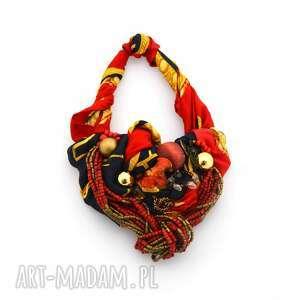 RED HOT! naszyjnik handmade, naszyjnik, kolorowy, czerwony, złoty