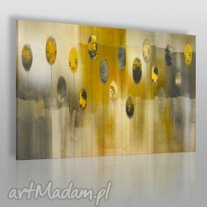 ręcznie zrobione obrazy obraz na płótnie - abstrakcja żółty szary beżowy - 120x80 cm (41903)