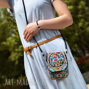 torebka damska haftowana etniczna orientalna na ramię, etno, boho, haft, wyszywana