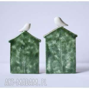 Zestaw dwóch domków zielonych, ceramika, domek, ptak