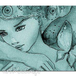 obraz xxl KOBIETA turkusowa -DK3 -120x70cm na płótnie, obraz, drukowany