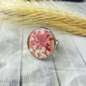 1058/mela pierścionek z żywicą i kwiatami, pierścionek, żywica, kwiaty, epoksyd