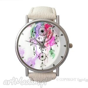 dreamcatcher - skórzany zegarek z dużą tarczą - zegarek, skórzany