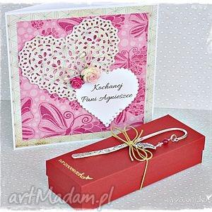 zakładki prezent dla kochanej nauczycielki, zakładka, kartka, kwiaty, dzień